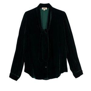 L'AGENCE Emerald Gisele Velvet Tie Blouse
